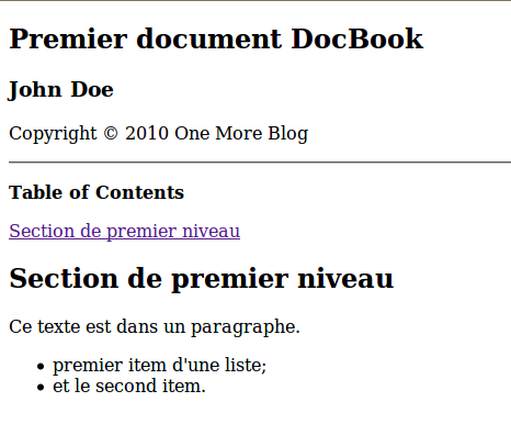 Exemple DocBook HTML